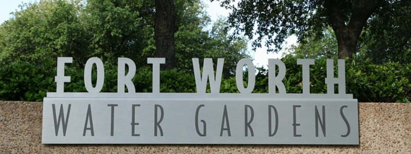 Fort Worth Water Gardens sign
